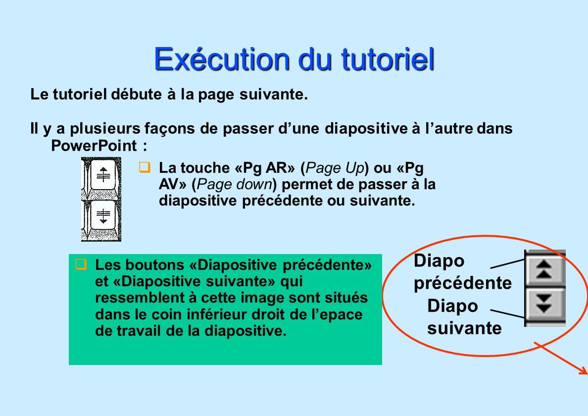 Diapo précédente Diapo suivante Exécution du tutoriel Le tutoriel débute à la page suivante. Il y a plusieurs façons de passer dune diapositive à laut