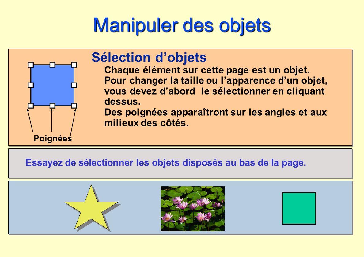 Poignées Manipuler des objets Sélection dobjets Chaque élément sur cette page est un objet. Pour changer la taille ou lapparence dun objet, vous devez