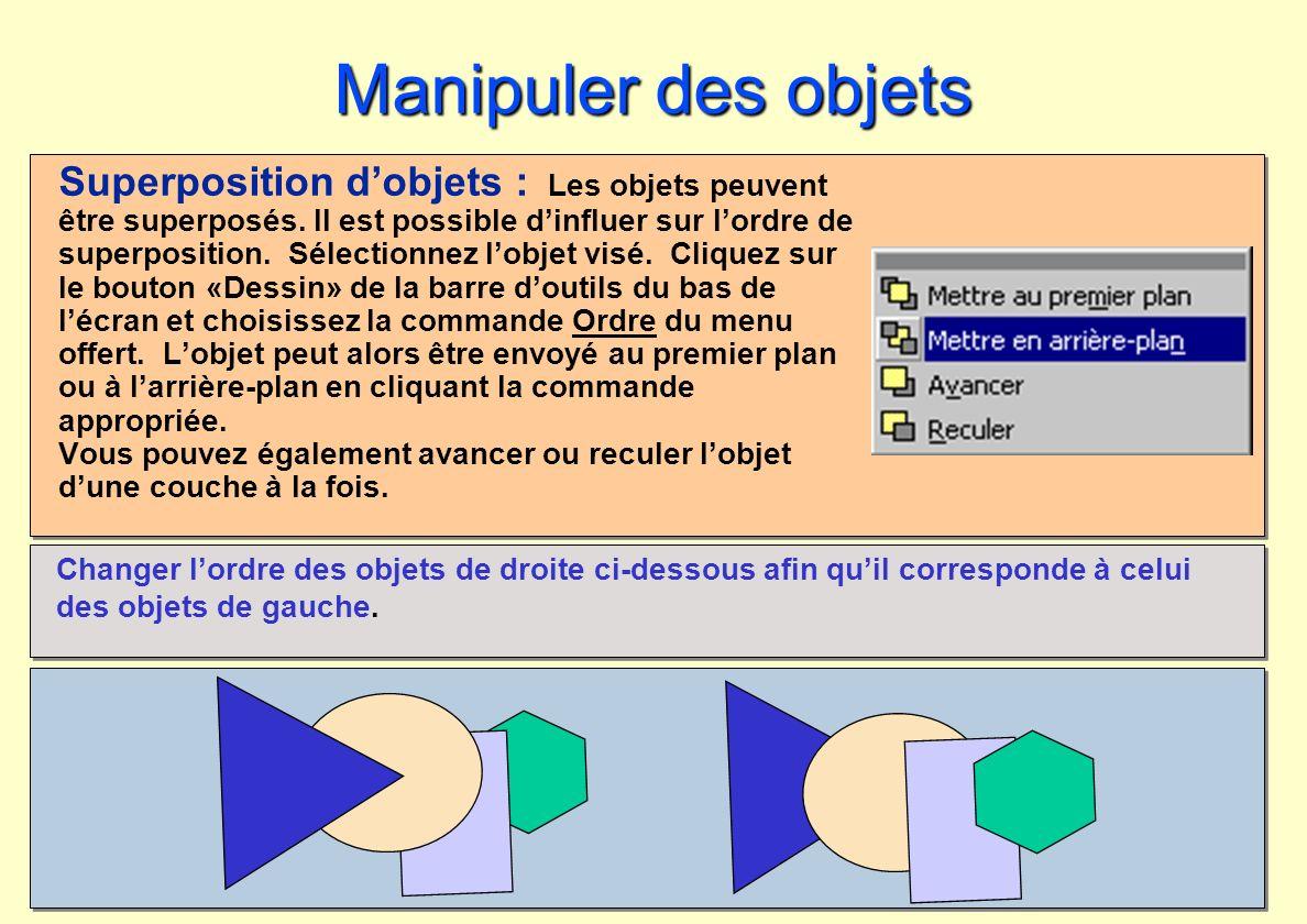 Manipuler des objets Superposition dobjets : Les objets peuvent être superposés. Il est possible dinfluer sur lordre de superposition. Sélectionnez lo