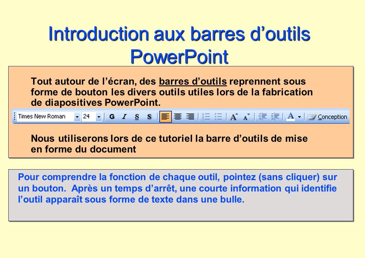 Introduction aux barres doutils PowerPoint Tout autour de lécran, des barres doutils reprennent sous forme de bouton les divers outils utiles lors de
