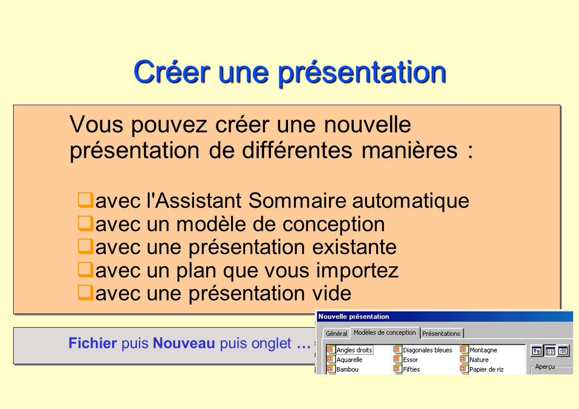 Créer une présentation Vous pouvez créer une nouvelle présentation de différentes manières : avec l'Assistant Sommaire automatique avec un modèle de c