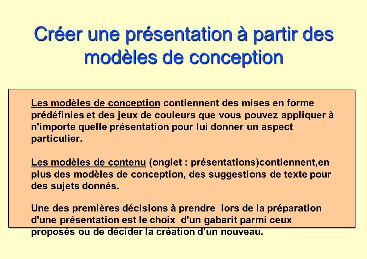 Créer une présentation à partir des modèles de conception Les modèles de conception contiennent des mises en forme prédéfinies et des jeux de couleurs