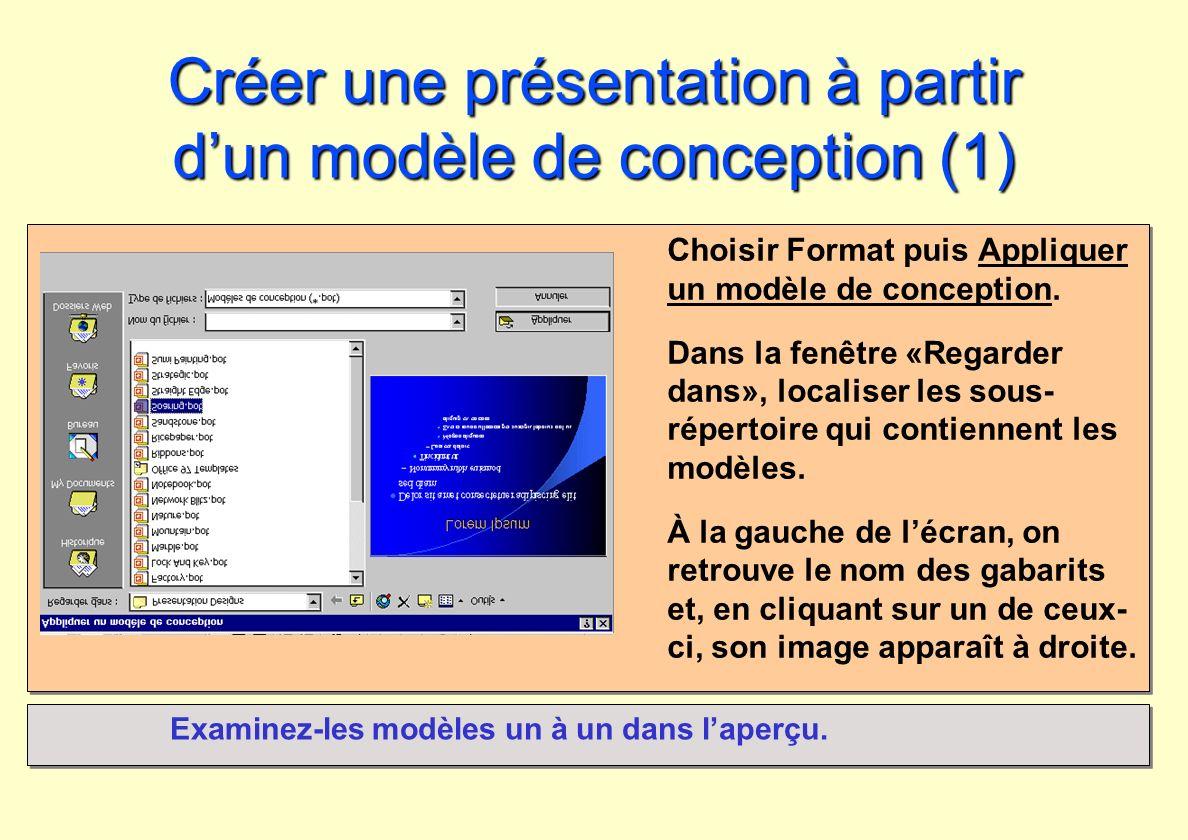 Créer une présentation à partir dun modèle de conception (1) Choisir Format puis Appliquer un modèle de conception. Dans la fenêtre «Regarder dans», l