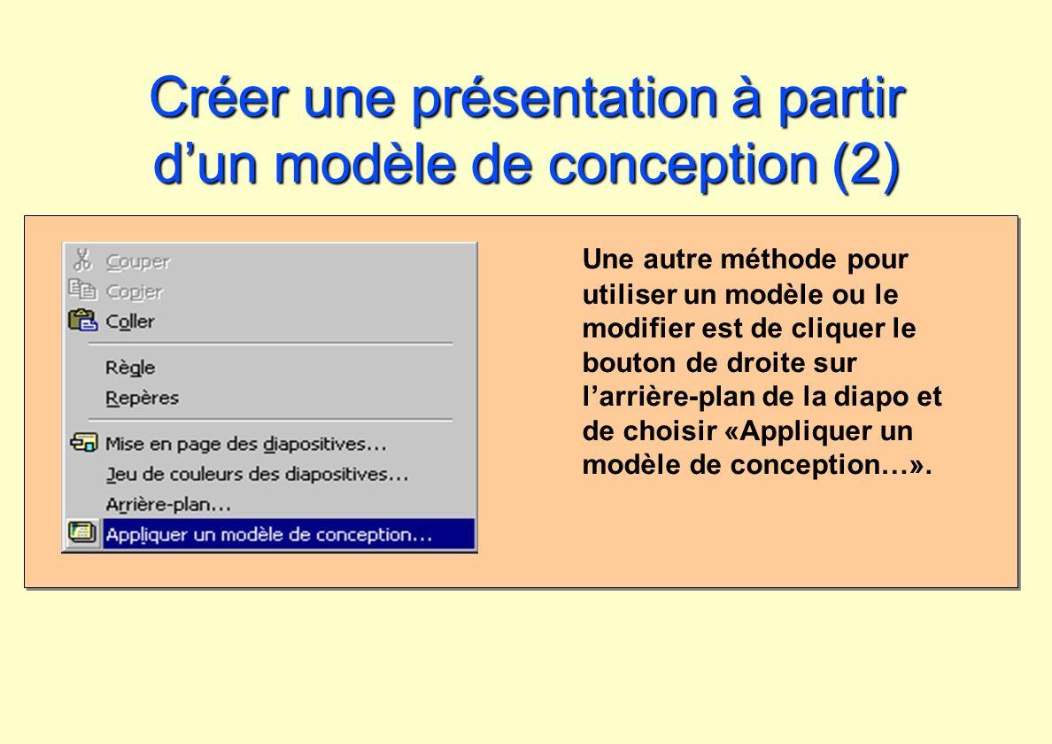 Créer une présentation à partir dun modèle de conception (2) Une autre méthode pour utiliser un modèle ou le modifier est de cliquer le bouton de droi