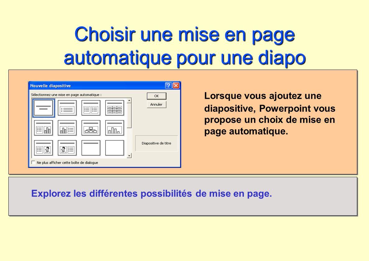 Choisir une mise en page automatique pour une diapo Lorsque vous ajoutez une diapositive, Powerpoint vous propose un choix de mise en page automatique