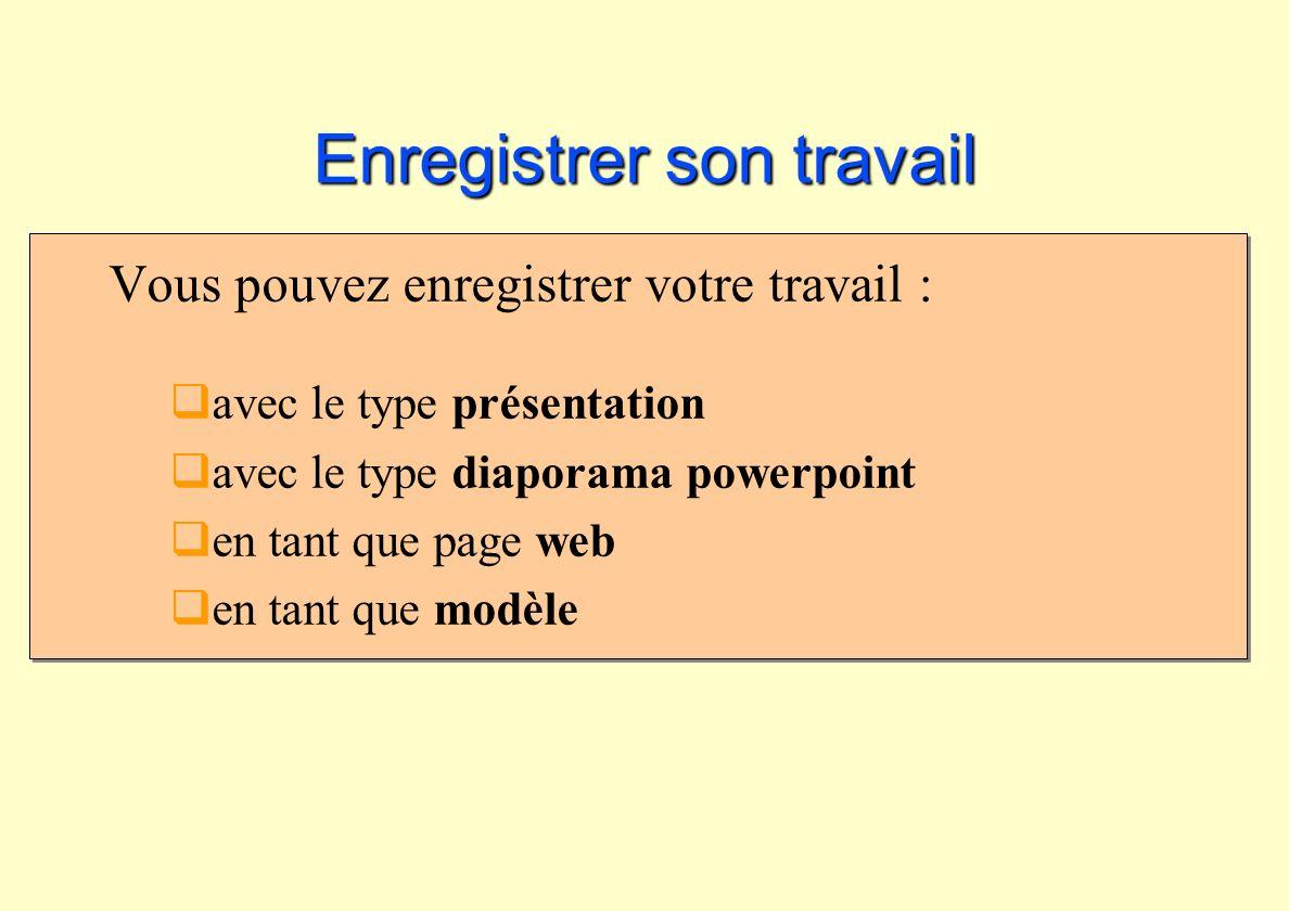 Enregistrer son travail Vous pouvez enregistrer votre travail : avec le type présentation avec le type diaporama powerpoint en tant que page web en ta
