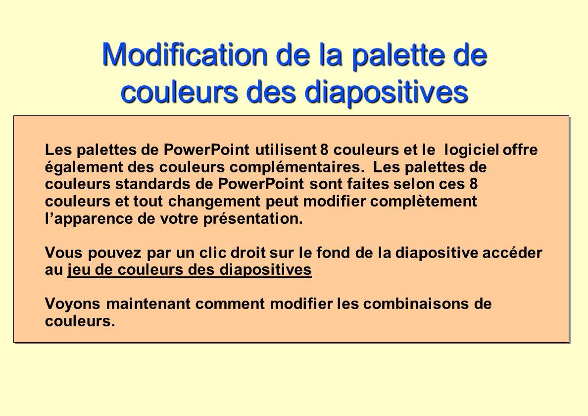 Modification de la palette de couleurs des diapositives Les palettes de PowerPoint utilisent 8 couleurs et le logiciel offre également des couleurs co