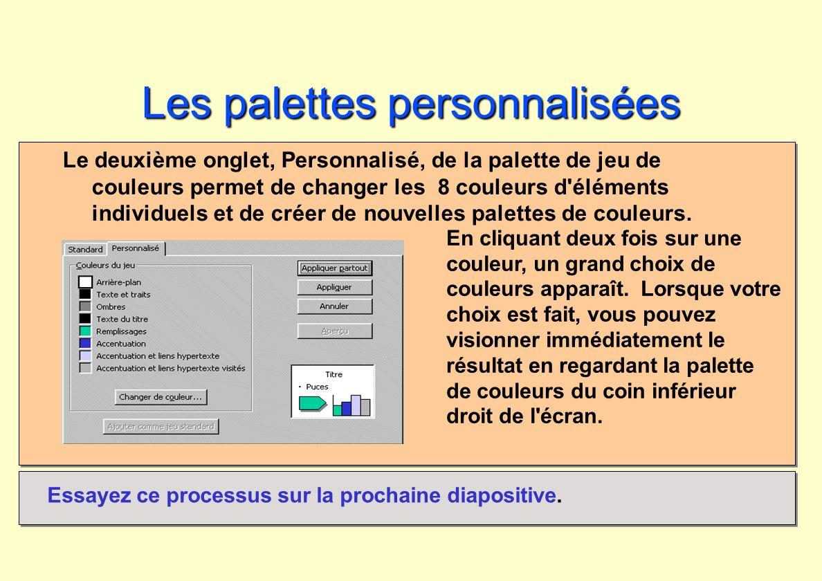 Les palettespersonnalisées Les palettes personnalisées Le deuxième onglet, Personnalisé, de la palette de jeu de couleurs permet de changer les 8 coul
