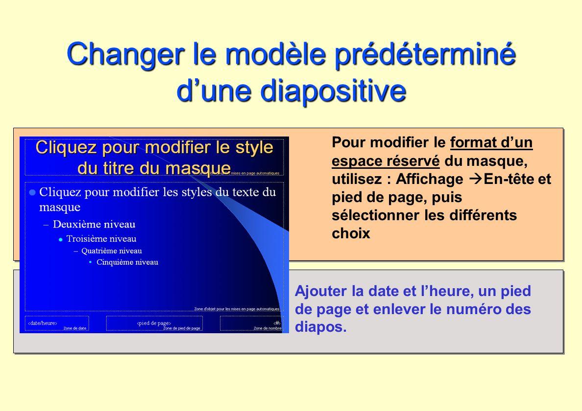 Changer le modèle prédéterminé dune diapositive Pour modifier le format dun espace réservé du masque, utilisez : Affichage En-tête et pied de page, pu