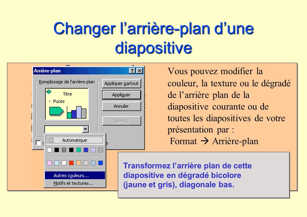 Changer larrière-plan dune diapositive Vous pouvez modifier la couleur, la texture ou le dégradé de larrière plan de la diapositive courante ou de tou