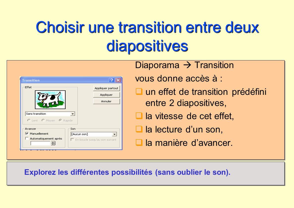 Choisir une transition entre deux diapositives Diaporama Transition vous donne accès à : un effet de transition prédéfini entre 2 diapositives, la vit