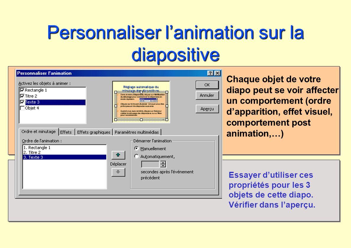 Personnaliser lanimation sur la diapositive Chaque objet de votre diapo peut se voir affecter un comportement (ordre dapparition, effet visuel, compor