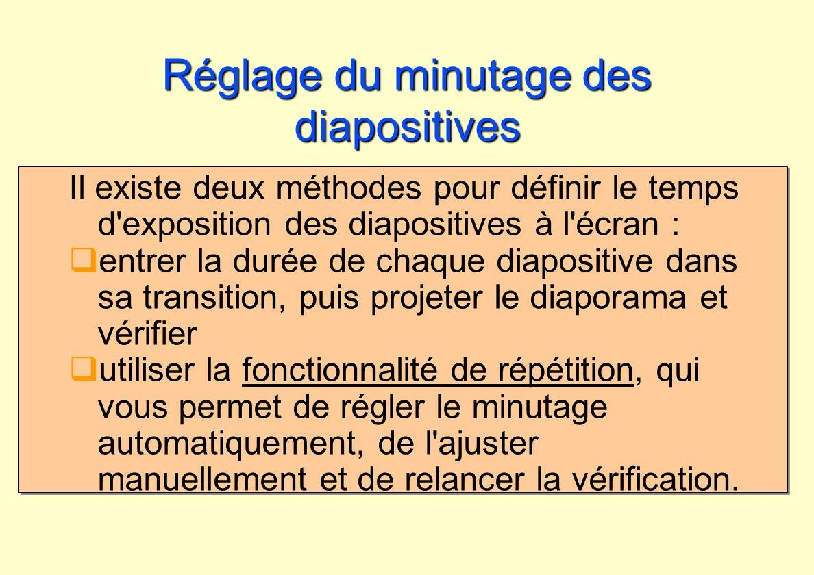 Réglage du minutage des diapositives Il existe deux méthodes pour définir le temps d'exposition des diapositives à l'écran : entrer la durée de chaque