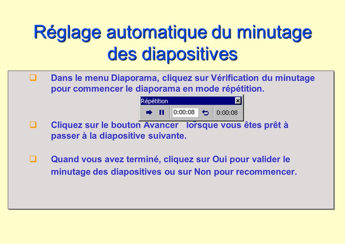 Réglage automatique du minutage des diapositives Dans le menu Diaporama, cliquez sur Vérification du minutage pour commencer le diaporama en mode répé