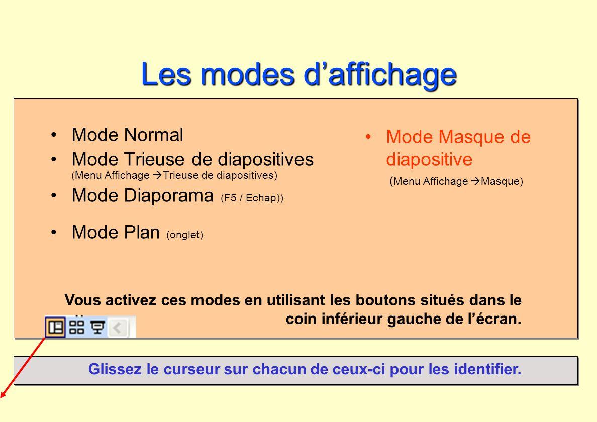 Les modes daffichage Depuis le début de cette session, vous travaillez dans le mode Normal Diapositive.