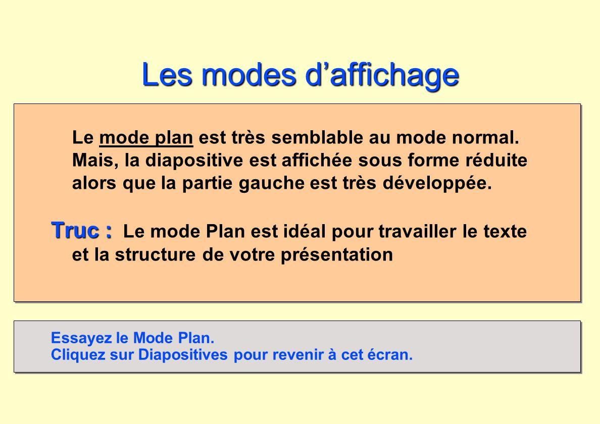 Les modes daffichage Le mode plan est très semblable au mode normal. Mais, la diapositive est affichée sous forme réduite alors que la partie gauche e