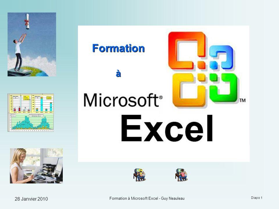 28 Janvier 2010 Formation à Microsoft Excel - Guy Neauleau Diapo 32 Les Fonctions Excel propose 2 façons dinsérer une fonction dans une formule : Soit en tapant la fonction directement dans la barre de formules (utilisateurs avancés) par exemple : Soit en utilisant lassistant de fonctions (fortement recommandé pour les débutants) par exemple :