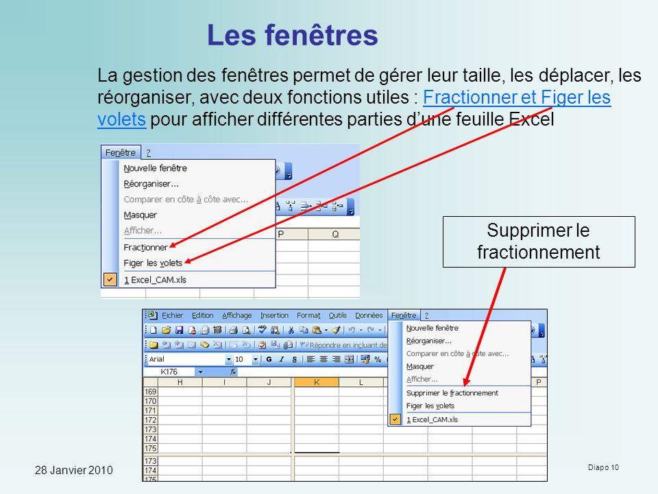 28 Janvier 2010 Formation à Microsoft Excel - Guy Neauleau Diapo 10 Les fenêtres La gestion des fenêtres permet de gérer leur taille, les déplacer, le