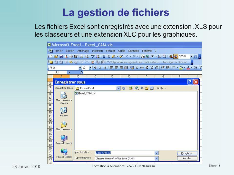 28 Janvier 2010 Formation à Microsoft Excel - Guy Neauleau Diapo 11 La gestion de fichiers Les fichiers Excel sont enregistrés avec une extension.XLS