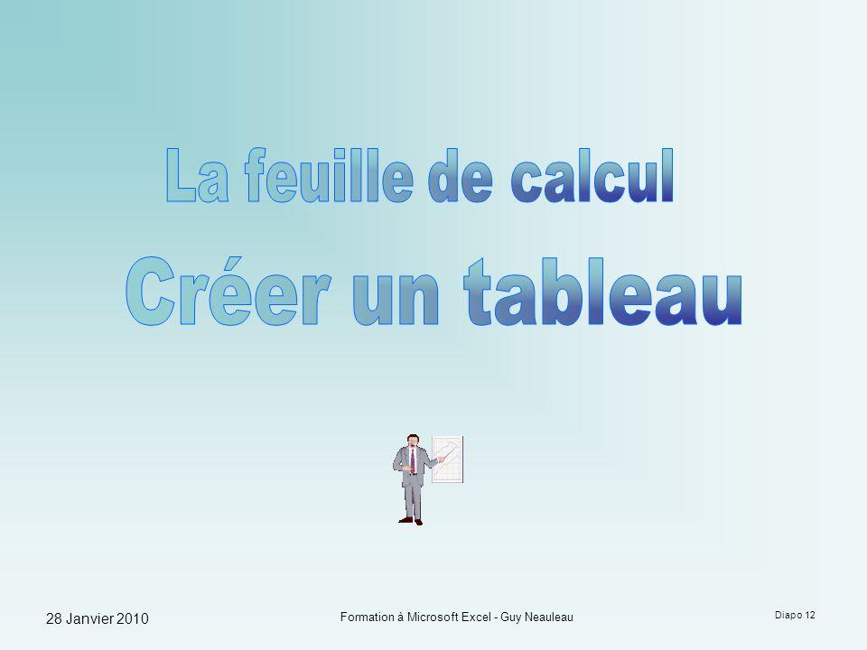 28 Janvier 2010 Formation à Microsoft Excel - Guy Neauleau Diapo 12