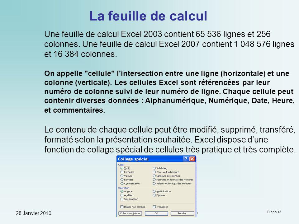 28 Janvier 2010 Formation à Microsoft Excel - Guy Neauleau Diapo 13 La feuille de calcul Une feuille de calcul Excel 2003 contient 65 536 lignes et 25