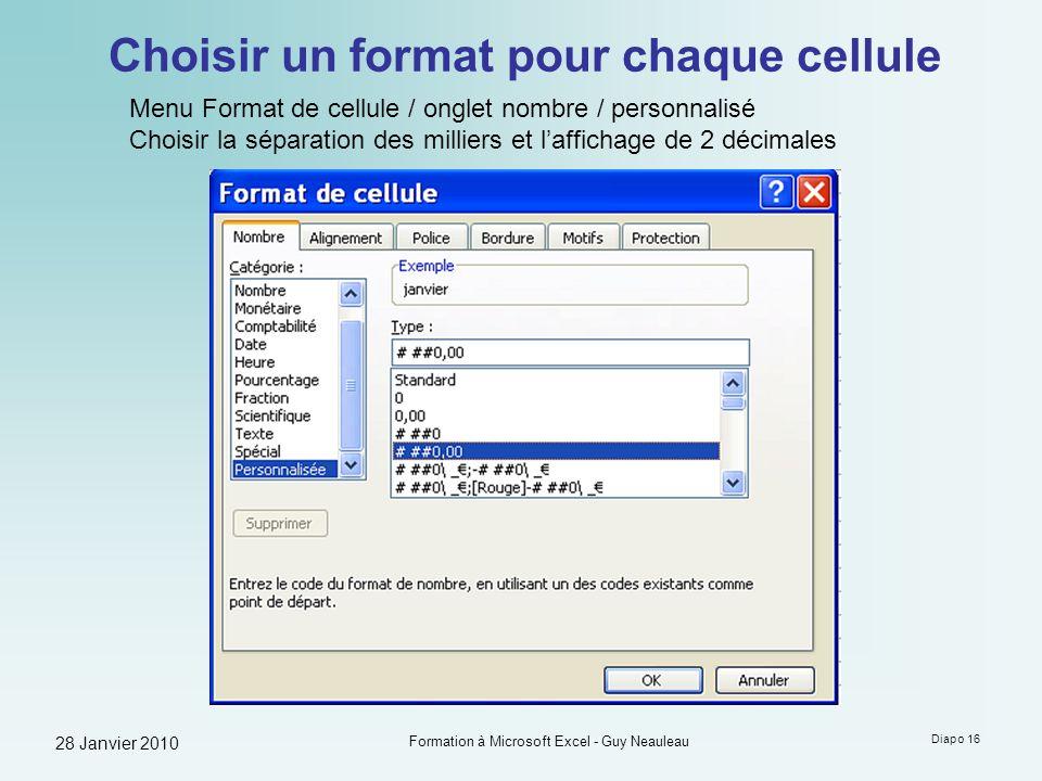 28 Janvier 2010 Formation à Microsoft Excel - Guy Neauleau Diapo 16 Choisir un format pour chaque cellule Menu Format de cellule / onglet nombre / per