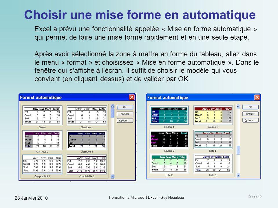 28 Janvier 2010 Formation à Microsoft Excel - Guy Neauleau Diapo 19 Choisir une mise forme en automatique Excel a prévu une fonctionnalité appelée « M