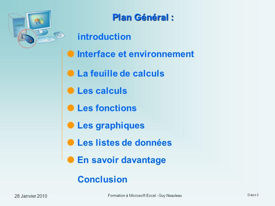 28 Janvier 2010 Formation à Microsoft Excel - Guy Neauleau Diapo 2 Interface et environnement Plan Général : Les calculs Les fonctions Les graphiques