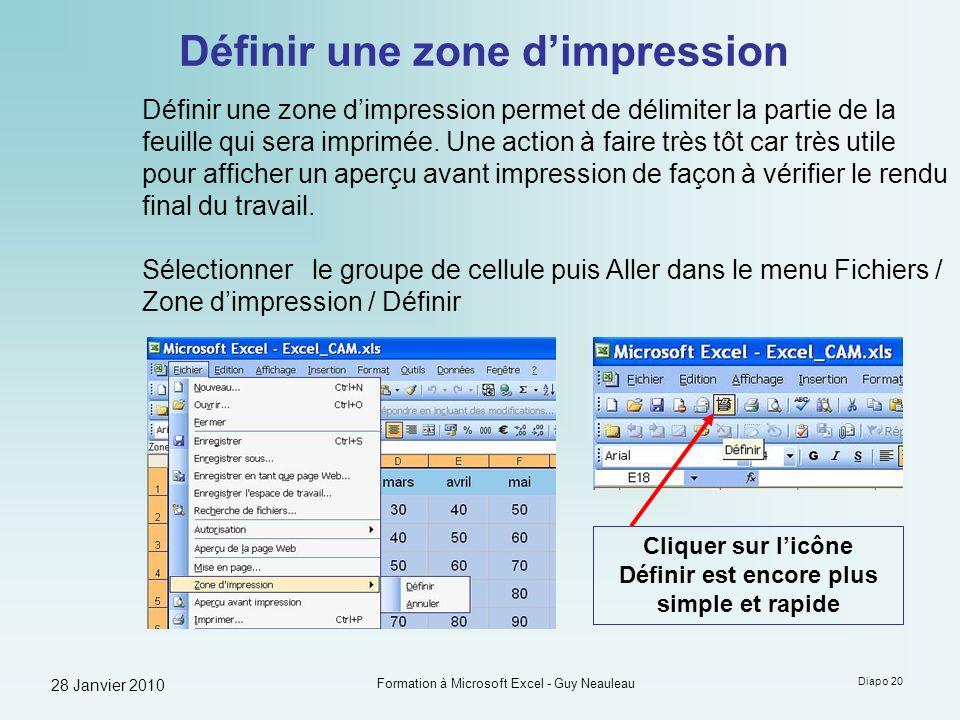 28 Janvier 2010 Formation à Microsoft Excel - Guy Neauleau Diapo 20 Définir une zone dimpression Définir une zone dimpression permet de délimiter la p