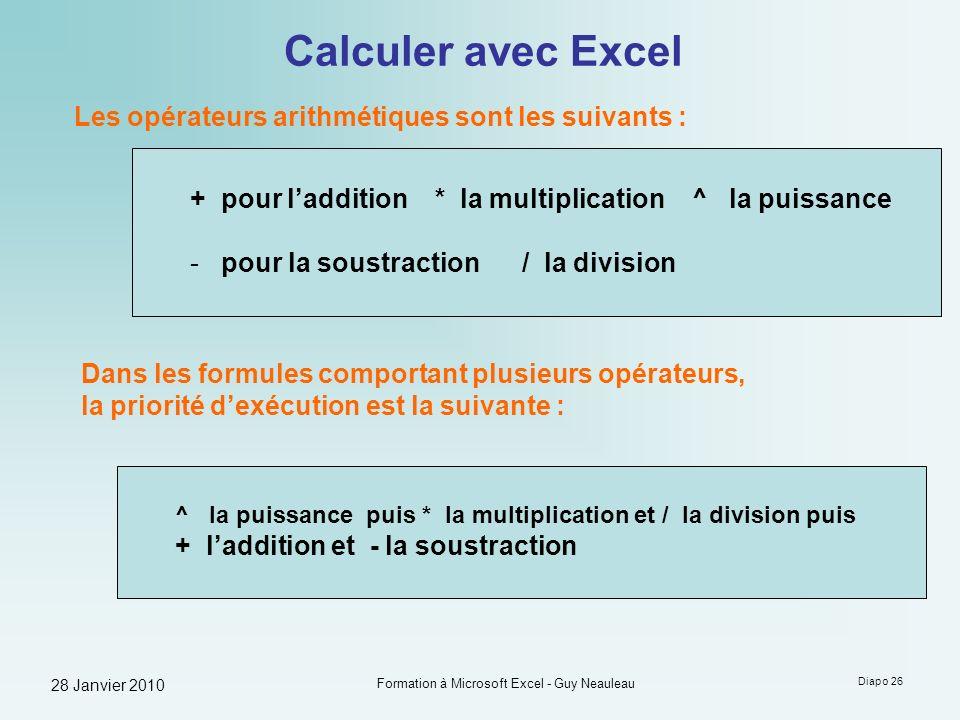28 Janvier 2010 Formation à Microsoft Excel - Guy Neauleau Diapo 26 Calculer avec Excel Les opérateurs arithmétiques sont les suivants : + pour laddit
