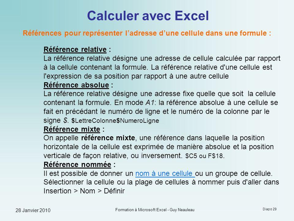 28 Janvier 2010 Formation à Microsoft Excel - Guy Neauleau Diapo 29 Calculer avec Excel Références pour représenter ladresse dune cellule dans une for