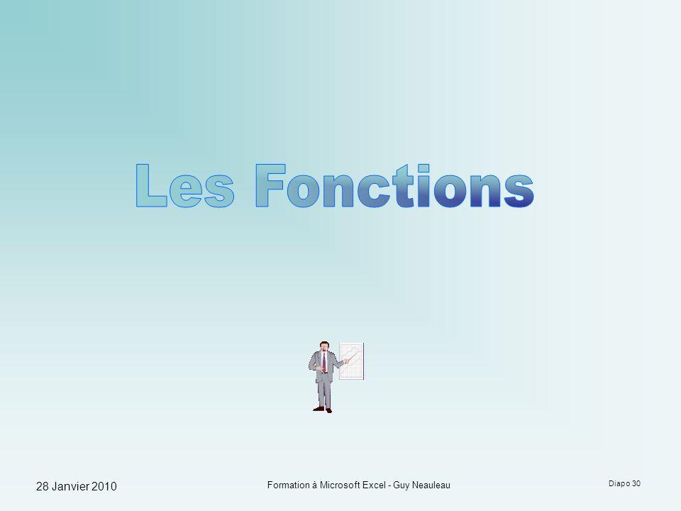 28 Janvier 2010 Formation à Microsoft Excel - Guy Neauleau Diapo 30