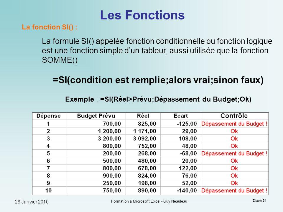 28 Janvier 2010 Formation à Microsoft Excel - Guy Neauleau Diapo 34 Les Fonctions La fonction SI() : La formule SI() appelée fonction conditionnelle o