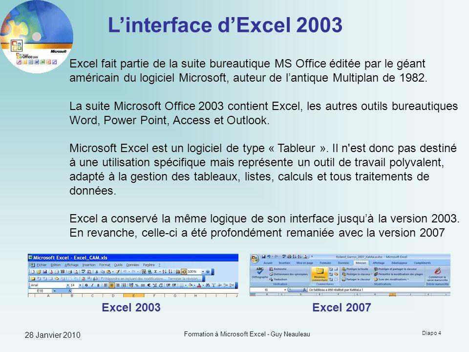 28 Janvier 2010 Formation à Microsoft Excel - Guy Neauleau Diapo 25 Calculer avec Excel Les bases du calcul simple Pour effectuer un calcul, il suffit de fournir à Excel les éléments à prendre en compte sous la forme dune Formule.