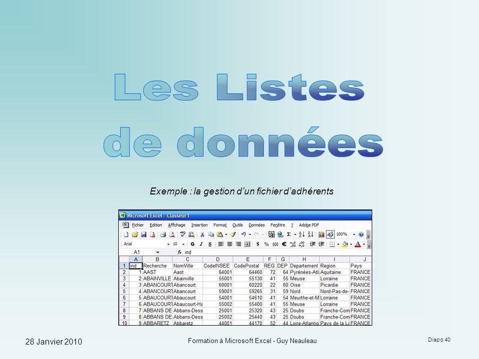 28 Janvier 2010 Formation à Microsoft Excel - Guy Neauleau Diapo 40 Exemple : la gestion dun fichier dadhérents