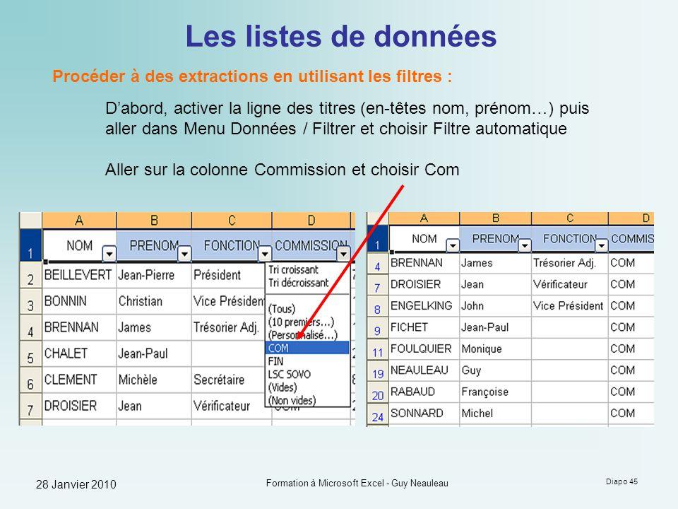 28 Janvier 2010 Formation à Microsoft Excel - Guy Neauleau Diapo 45 Les listes de données Procéder à des extractions en utilisant les filtres : Dabord