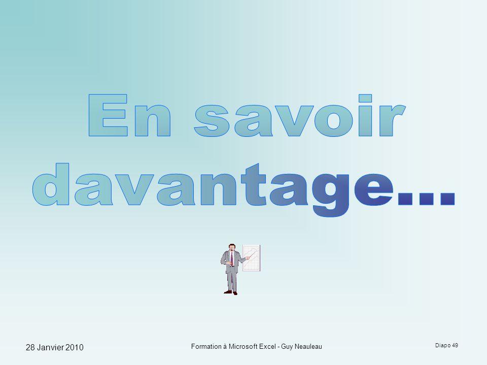 28 Janvier 2010 Formation à Microsoft Excel - Guy Neauleau Diapo 49