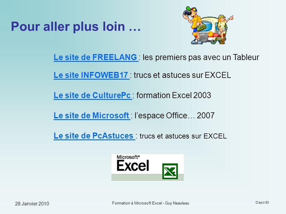 28 Janvier 2010 Formation à Microsoft Excel - Guy Neauleau Diapo 50 Pour aller plus loin … Le site de FREELANG Le site de FREELANG : les premiers pas
