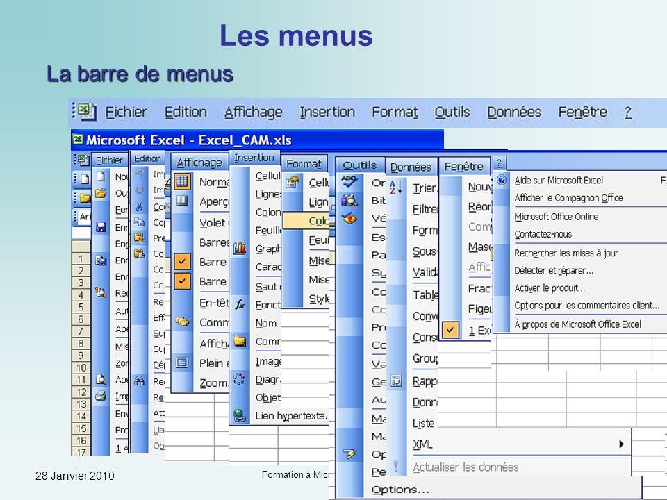 28 Janvier 2010 Formation à Microsoft Excel - Guy Neauleau Diapo 8 Les menus Les menus contextuels En cliquant sur le bouton droit de la souris, vous accédez à un menu contextuel se rapportant à un objet donné