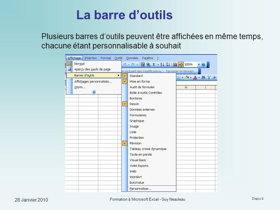 28 Janvier 2010 Formation à Microsoft Excel - Guy Neauleau Diapo 9 La barre doutils Plusieurs barres doutils peuvent être affichées en même temps, cha