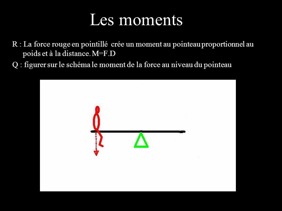 4 éléments R : La force rouge en pointillé crée un moment au pointeau proportionnel au poids et à la distance. M=F.D Q : figurer sur le schéma le mome