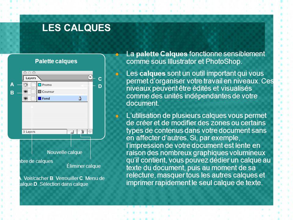 LES CALQUES La palette Calques fonctionne sensiblement comme sous Illustrator et PhotoShop. Les calques sont un outil important qui vous permet dorgan
