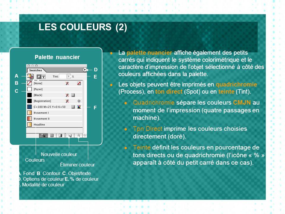LES COULEURS (2) La palette nuancier affiche également des petits carrés qui indiquent le système colorimétrique et le caractère dimpression de l'obje