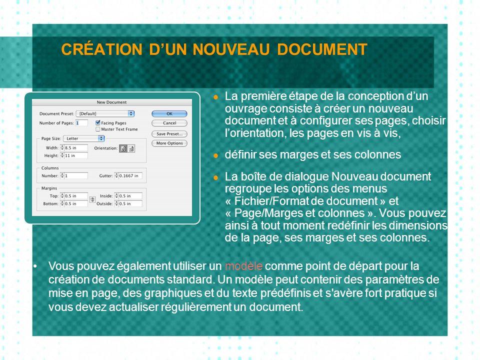 LES PAGES La palette Pages permet de gérer les pages individuelles, les doubles pages et les pages types.