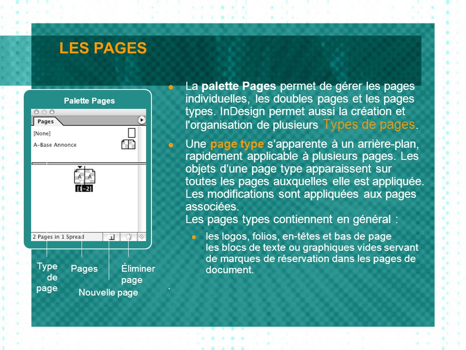 LES PAGES La palette Pages permet de gérer les pages individuelles, les doubles pages et les pages types. InDesign permet aussi la création et l'organ