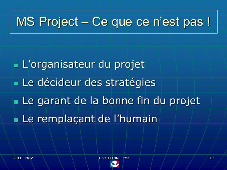 2011 - 2012 D. VALLETON - CMA 10 MS Project – Ce que ce nest pas ! Lorganisateur du projet Lorganisateur du projet Le décideur des stratégies Le décid