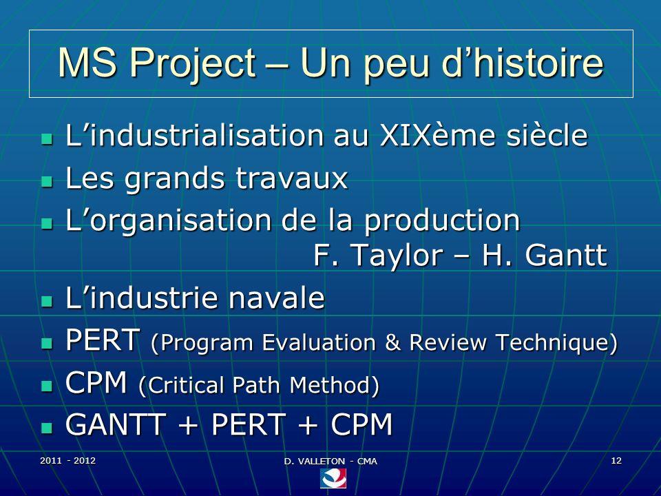 2011 - 2012 D. VALLETON - CMA 12 MS Project – Un peu dhistoire Lindustrialisation au XIXème siècle Lindustrialisation au XIXème siècle Les grands trav