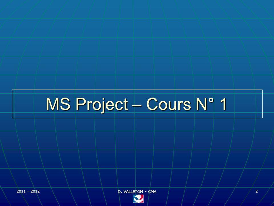 2011 - 2012 D. VALLETON - CMA 23 MS Project – Affichage - 3 Barre de mise en forme Barre de dessin