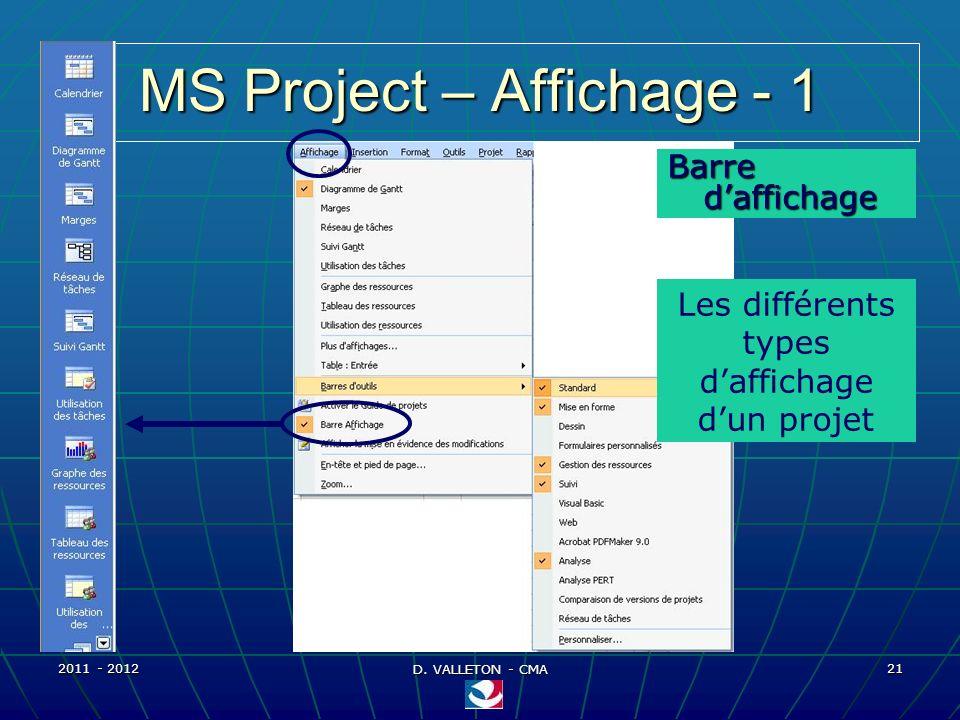 2011 - 2012 D. VALLETON - CMA 21 MS Project – Affichage - 1 Barre daffichage Les différents types daffichage dun projet