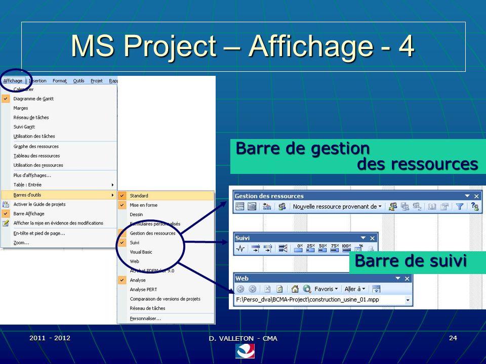2011 - 2012 D. VALLETON - CMA 24 MS Project – Affichage - 4 Barre de gestion des ressources Barre de suivi